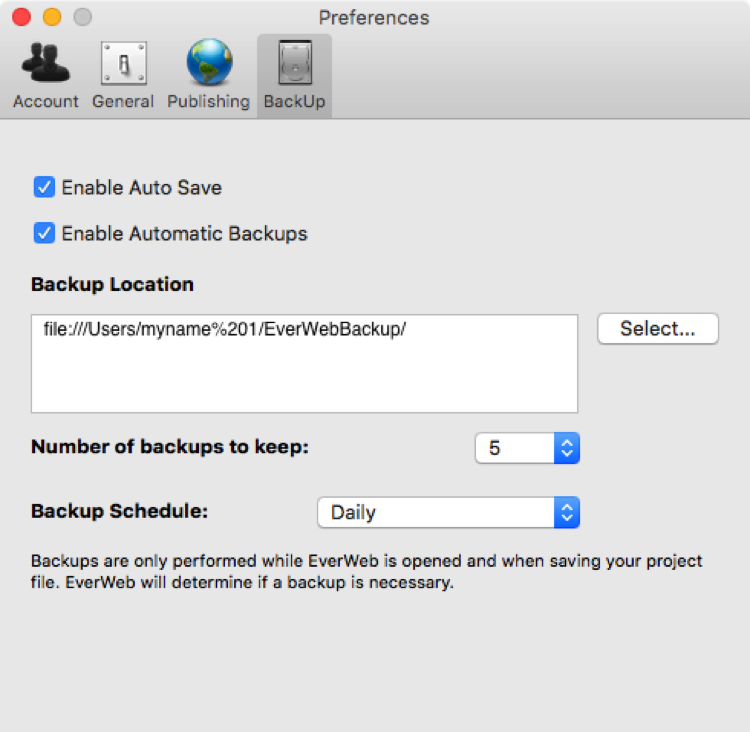 EverWeb's Backup Preferences