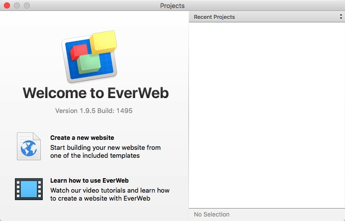 EverWeb Projects Window