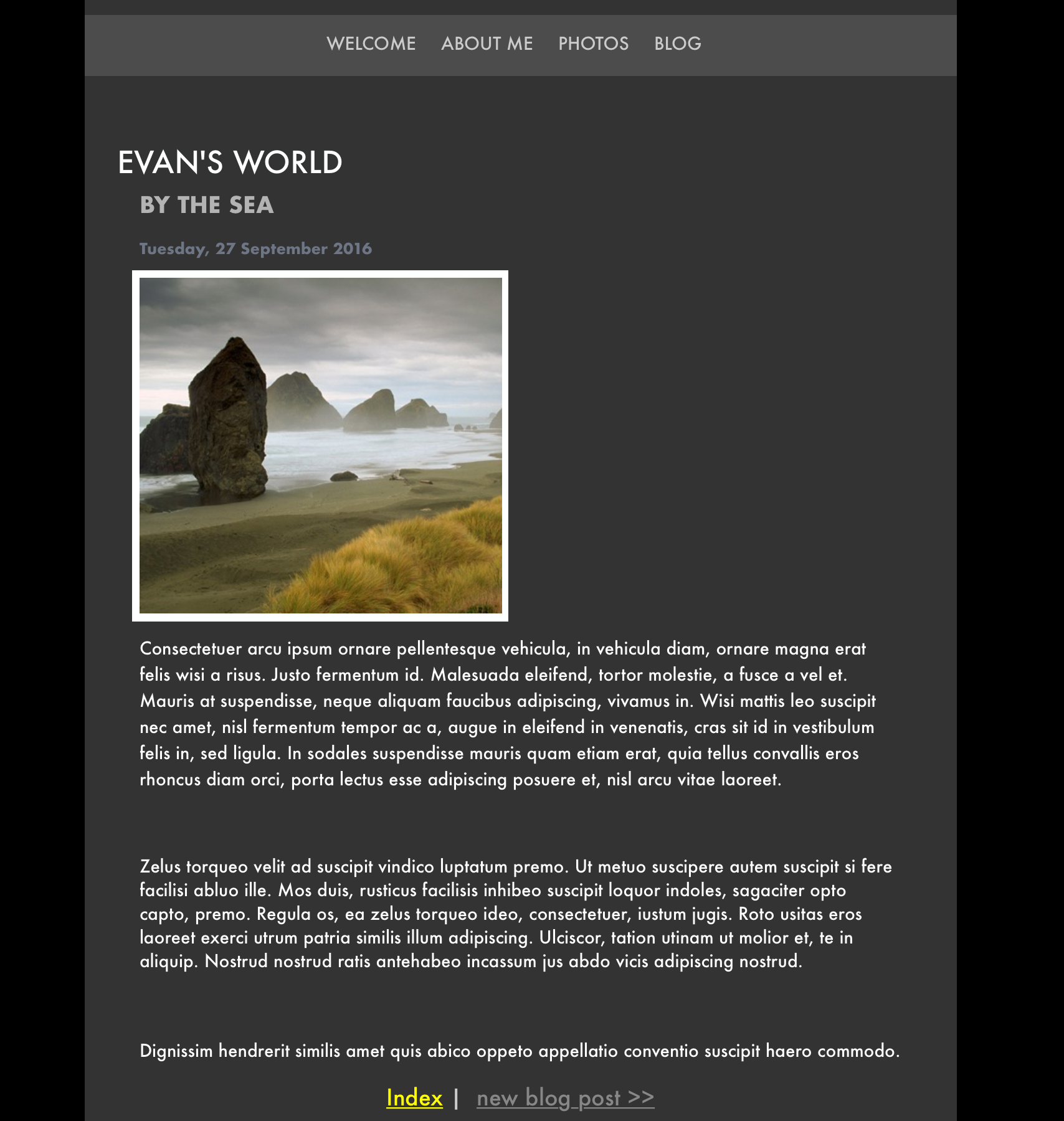 The recreated iWeb blog post in the soon to be released EverWeb version 2.0.